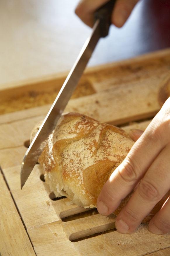 cutting no knead bread