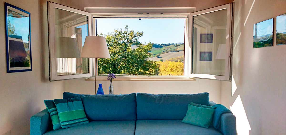 Holiday rental sitting room view Urbino Marche Italy