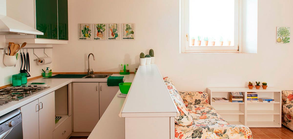 Kitchen sitting room farm holiday rental Marche Italy