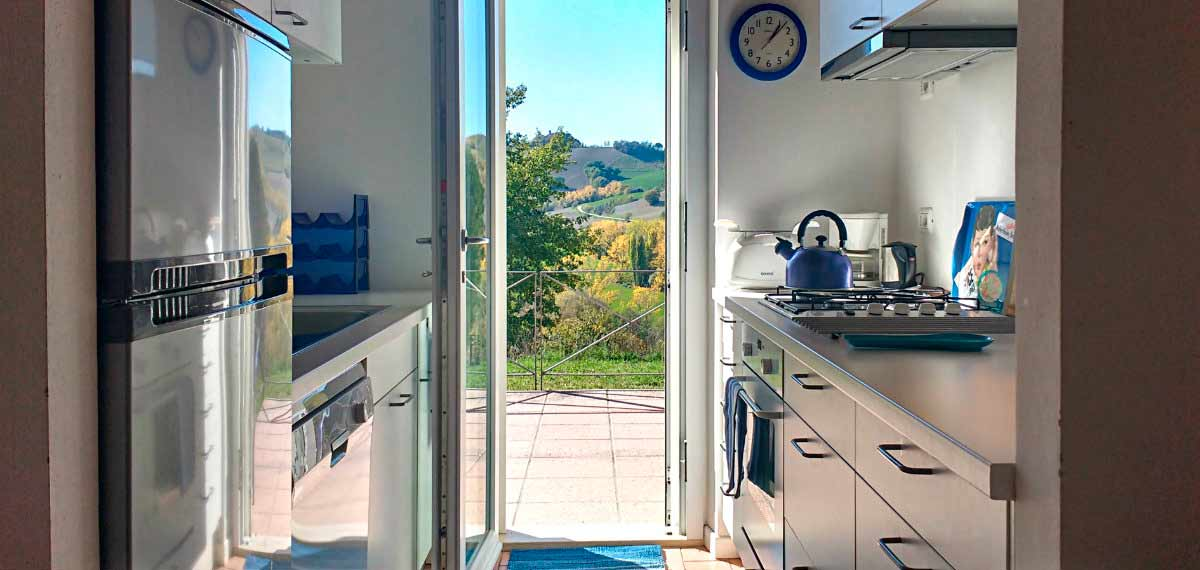 Kitchen view agriturismo apartment Urbino Marche Italy