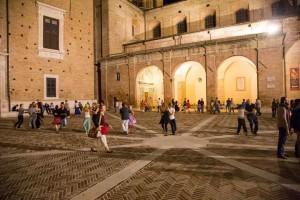 Early music festival Urbino Square Ducal Palace Duomo Dancing