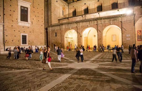 Early music festival Urbino Square Ducal Palace Duomo Dancing