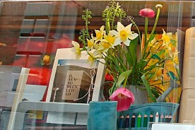 Window shop Urbino Flowers Marche Italy