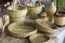 Woven bottles basket weaving Urbino Marche Italy