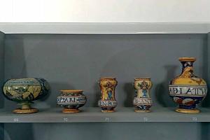 Herbs medicines jars majolica Casteldurante Urbania Marche Italy