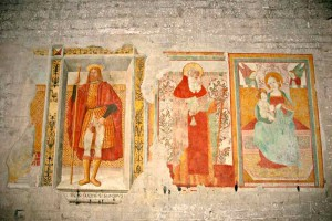 san Rocco saint and virgin San vincenzo al furlo church Marche Italy