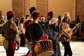 Early music group reenactment Festa del Duca Urbino Marche