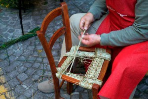 straw weaving artisan woven chair Urbino Marche Italy
