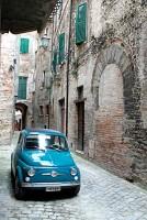 Urbino cinquecento acrobatic parking Marche Italy hilltop town