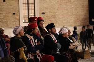 Old dress reenactments palios Ducal Palace Urbino Marche